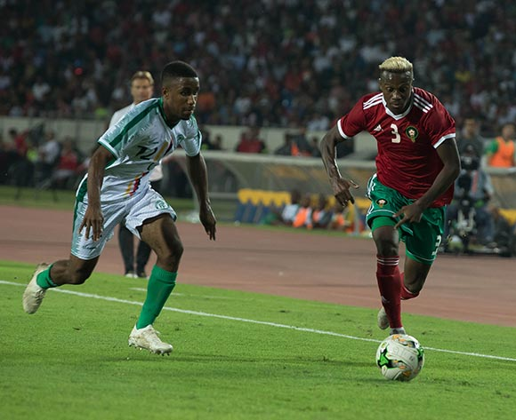 Nations morocco player(R) and Comoros player (L) fight for the ball during the qualifiers for the African Cup of Nations morocco and Comoros at Mohamed V Stadium in Casablanca , Morocco, 13 October 2018.