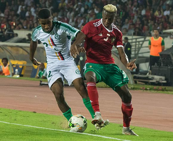 Nations Morocco player me ndyl hamza (R) and  Comoros player imamo abdallah (L) fight for the ball during the qualifiers for the African Cup of Nations morocco and Comoros at Mohamed V Stadium in Casablanca , Morocco, 13 October 2018.