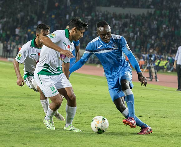 Raja Club Athletic player  ABDELILAH HAFIDI  (R) and Enyimba FC player  AUGUSTINE OLADAPO (L) fight for the ball during the African Confederation Cup match between Raja Club Athletic of Morocco and Enyimba FC of Nigeria, on 24 October 2018 at Mohamed V Stadium in Casablanca, Morocco