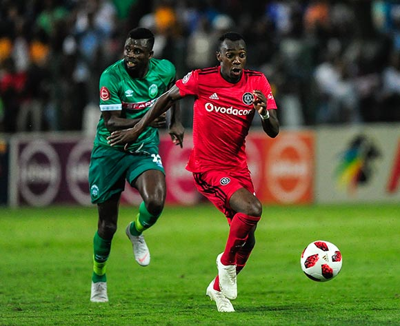 Sadate Ouro-Akoriko of AmaZulu FC gives chase to Justin Shonga of Orlando Pirates during the Absa Premiership 2018/19 game between AmaZulu and Orlando Pirates at King Zwelithini Stadium, Durban on 6 October 2018 © Gerhard Duraan/BackpagePix