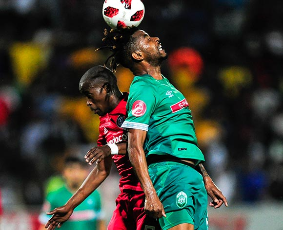 Nhlanhla Vilakazi of AmaZulu FC gets to the ball before Thabo Matlaba of Orlando Pirates during the Absa Premiership 2018/19 game between AmaZulu and Orlando Pirates at King Zwelithini Stadium, Durban on 6 October 2018 © Gerhard Duraan/BackpagePix