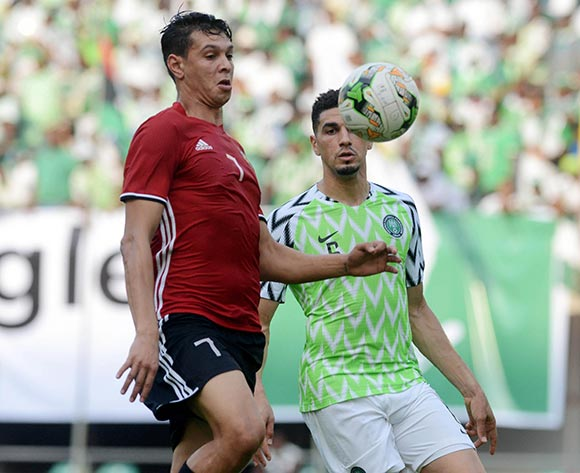 Leon Balogun of Nigeria challenges Mohammed Zaeibia of Libya during the 2019 Africa Cup of Nations qualifier football match between Nigeria and Libya at Akwa Ibom International Stadium, Akwa Ibom State, Nigeria on 13 October 2018 @Kabiru Abubakar/BackpagePix