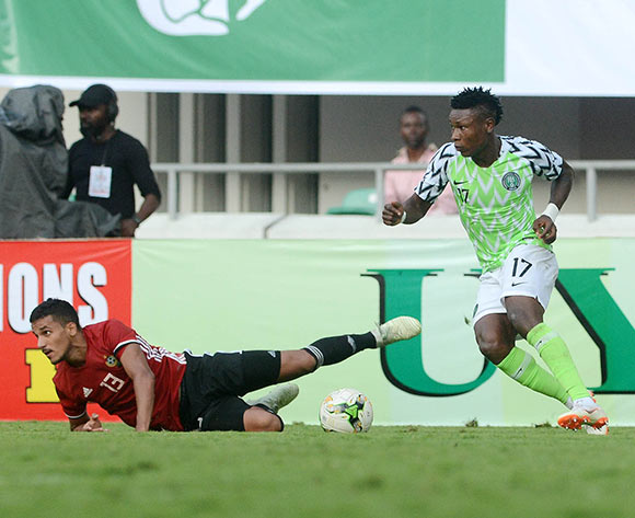 Mohammed Abdussallam of Libya challenges Samuel Kalu of Nigeria during the 2019 Africa Cup of Nations qualifier football match between Nigeria and Libya at Akwa Ibom International Stadium, Akwa Ibom State, Nigeria on 13 October 2018 @Kabiru Abubakar/BackpagePix