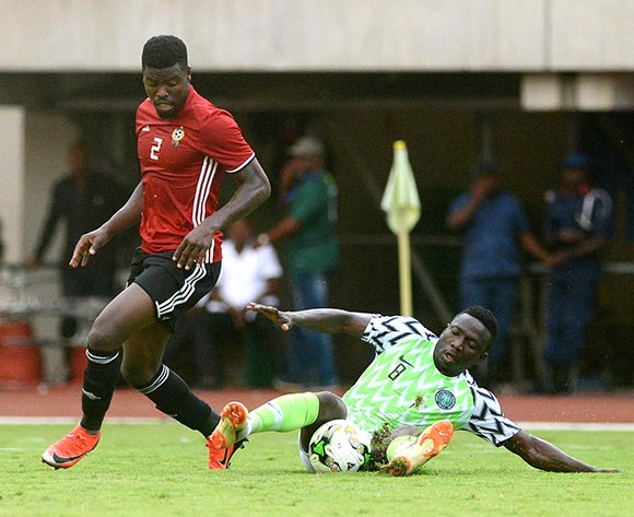 Etebo Oghenekaro of Nigeria challenged by Ahmed Al Magashi of Libya during the 2019 Africa Cup of Nations qualifier football match between Nigeria and Libya at Akwa Ibom International Stadium, Akwa Ibom State, Nigeria on 13 October 2018 @Kabiru Abubakar/BackpagePix