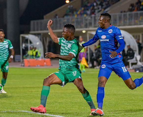 Tshepo Rikhotso of Bloemfontein Celtic and Evans Rusike of SuperSport United during the Absa Premiership 2018/19 game between Bloemfontein Celtic and SuperSport United at Dr Molemela  Stadium in BLoemfontein on 28 November 2018 © Frikkie Kapp/BackpagePix