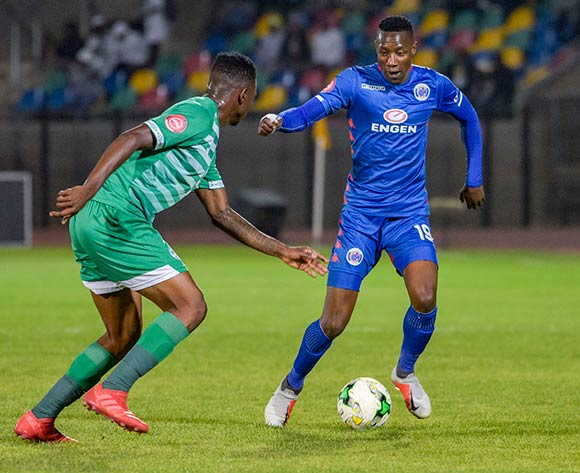 Evans Rusike of SuperSport United and Tshepo Rikhotso of Bloemfontein Celtic during the Absa Premiership 2018/19 game between Bloemfontein Celtic and SuperSport United at Dr Molemela  Stadium in BLoemfontein on 28 November 2018 © Frikkie Kapp/BackpagePix