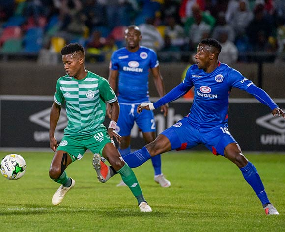 Menzi Masuku of Bloemfontein Celtic and Evans Rusike of SuperSport United during the Absa Premiership 2018/19 game between Bloemfontein Celtic and SuperSport United at Dr Molemela  Stadium in BLoemfontein on 28 November 2018 © Frikkie Kapp/BackpagePix