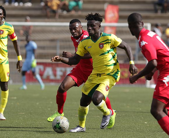 Piqueti Silva of Guinea Bissau and Petrus Shitembi of Namibia in action during their Afcon qualifier in Windhoek on Saturday that ended in a 0-0 draw. Photo: Helge Schutz