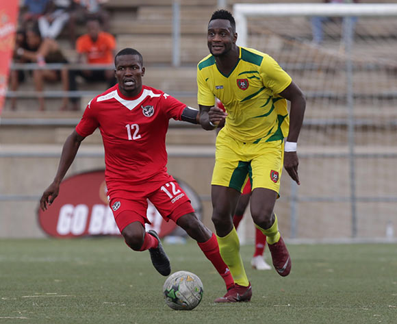 Frederic Mendy of Guinea Bissau and Ronald Ketjijere of Namibia in action during their Afcon qualifier in Windhoek on Saturday. The match ended in a goalless draw. Photo: Helge Schutz
