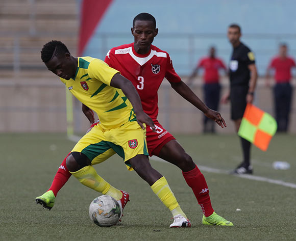 Carlos Embalo of Guinea Bissau and Ananias Gebhardt of Namibia in action during their Afcon qualifier in Windhoek on Saturday. The match ended in a 0-0 draw. Photo: Helge Schutz