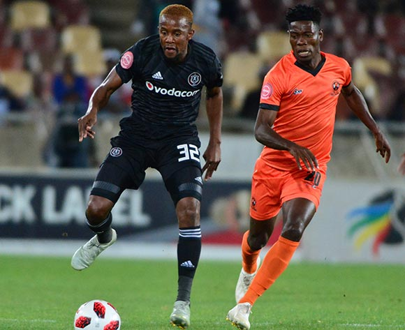 Linda Mntambo of Orlando Pirates and Salulani Phiri of Polokwane City during the Absa Premiership 2018/19 game between Polokwane City and Orlando Pirates at Peter Mokaba Stadium in Polokwane the on 06 Novermber 2018 © Kabelo Leputu/BackpagePix
