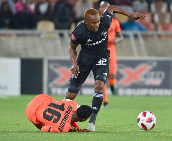 Linda Mntambo of Orlando Pirates and Vusimusi Mngomezulu of Polokwane City during the Absa Premiership 2018/19 game between Polokwane City and Orlando Pirates at Peter Mokaba Stadium in Polokwane the on 06 Novermber 2018 © Kabelo Leputu/BackpagePix