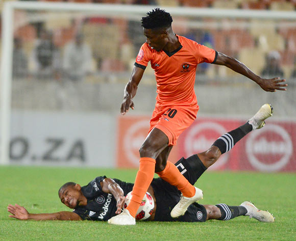 Salulani Phiri of Polokwane City and Thabo Qalinge of Orlando Pirates during the Absa Premiership 2018/19 game between Polokwane City and Orlando Pirates at Peter Mokaba Stadium in Polokwane the on 06 Novermber 2018 © Kabelo Leputu/BackpagePix
