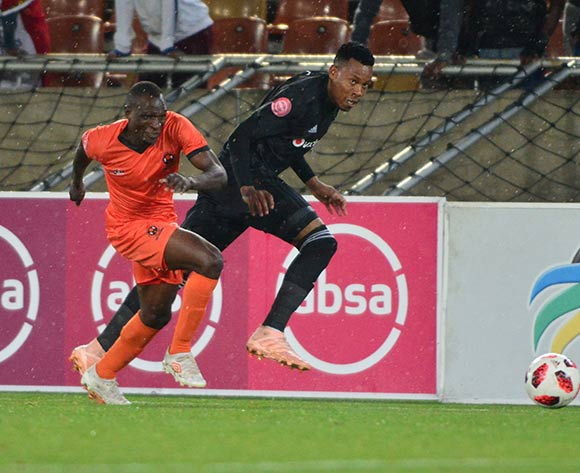 Rodney Ramagalela of Polokwane City and Happy Jele of Orlando Pirates during the Absa Premiership 2018/19 game between Polokwane City and Orlando Pirates at Peter Mokaba Stadium in Polokwane the on 06 Novermber 2018 © Kabelo Leputu/BackpagePix