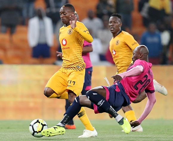 Khama Billiat of Kaizer Chiefs tackled by Jean Munganga of Black Leopards during the Absa Premiership 2018/19 match between Kaizer Chiefs and Black Leopards at the FNB Stadium, Johannesburg on 07 November 2018 ©Muzi Ntombela/BackpagePix