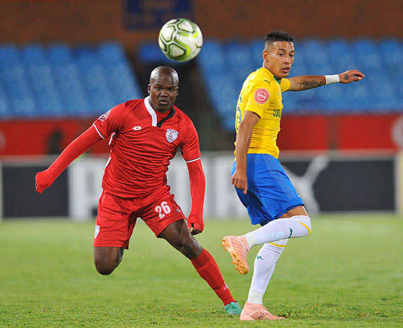 Gaston Sirino of Mamelodi Sundowns is challenged by Goodman Dlamini of Free State Stars during the Absa Premiership match between Mamelodi Sundowns and Free State Stars on the 07 November 2018 at Loftus Versfeld Stadium  / Pic Sydney Mahlangu/BackpagePix