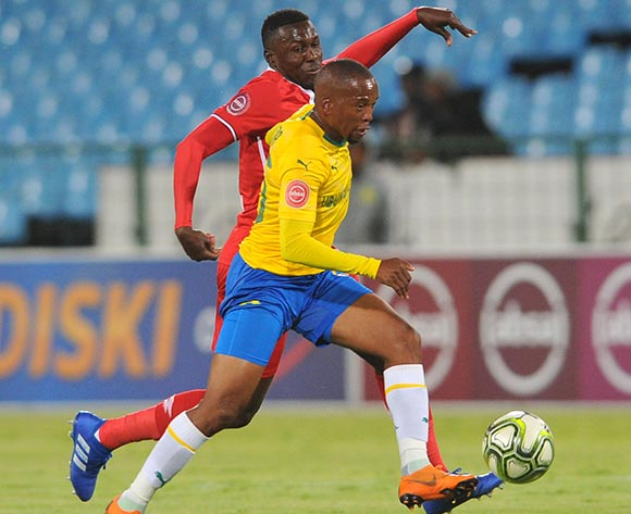 Aubrey Ngoma of Mamelodi Sundowns is challenged by Bangaly Keita of Free State Stars  during the Absa Premiership match between Mamelodi Sundowns and Free State Stars on the 07 November 2018 at Loftus Versfeld Stadium  / Pic Sydney Mahlangu/BackpagePix