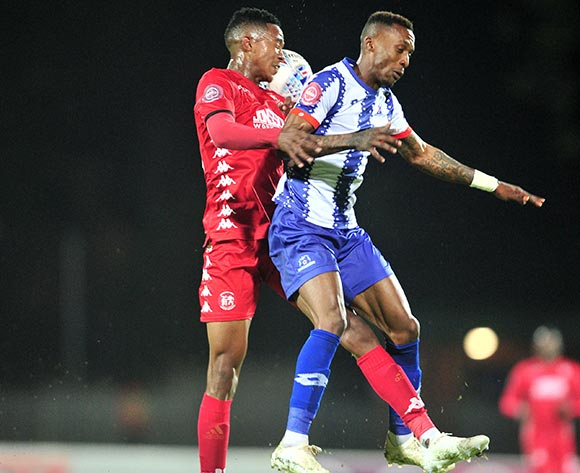 Yannick Zakri of Maritzburg United challenged by Sphiwe Msimango of Highlands Park during the Absa Premiership 2018/19 match between Maritzburg United and Highlands Park at Harry Gwala Stadium, Pietermaritzburg on 09 November 2018 ©Samuel Shivambu/BackpagePix