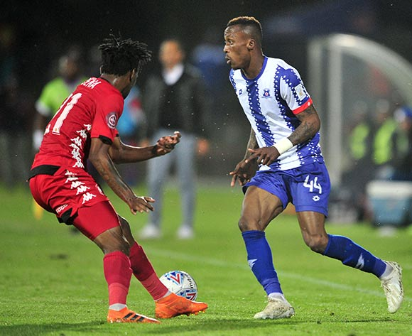 Yannick Zakri of Maritzburg United challenged by Luckyboy Mokoena of Highlands Park during the Absa Premiership 2018/19 match between Maritzburg United and Highlands Park at Harry Gwala Stadium, Pietermaritzburg on 09 November 2018 ©Samuel Shivambu/BackpagePix