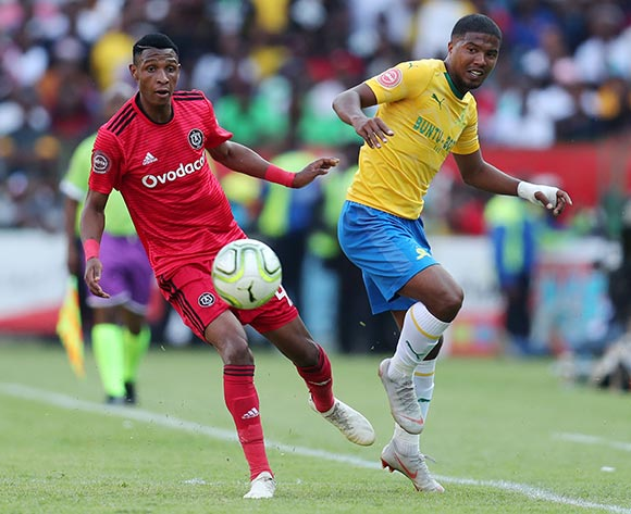 Lyle Lakay of Mamelodi Sundowns challenged by Vincent Pule of Orlando Pirates during the Absa Premiership 2018/19 match between Mamelodi Sundowns and Orlando Pirates at the Loftus Versveld Stadium, Pretoria on 10 November 2018 ©Muzi Ntombela/BackpagePix