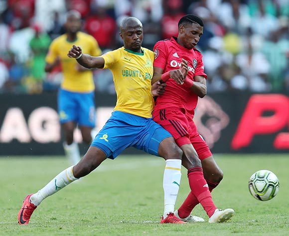 Vincent Pule of Orlando Pirates challenged by Tebogo Langerman of Mamelodi Sundowns during the Absa Premiership 2018/19 match between Mamelodi Sundowns and Orlando Pirates at the Loftus Versveld Stadium, Pretoria on 10 November 2018 ©Muzi Ntombela/BackpagePix