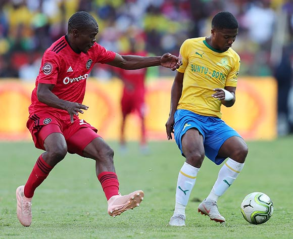 Lyle Lakay of Mamelodi Sundowns challenged by Asavela Mbhekile of Orlando Pirates during the Absa Premiership 2018/19 match between Mamelodi Sundowns and Orlando Pirates at the Loftus Versveld Stadium, Pretoria on 10 November 2018 ©Muzi Ntombela/BackpagePix