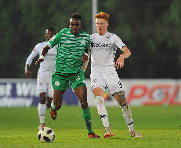 Ronald Pfumbidzai of Bloemfontein Celtic is challenged by Simon Murray of Bidvest Wits during the Absa Premiership match between Bidvest Wits and Bloemfontein Celtic on the 10 November 2018 at Bidvest Stadium  / Pic Sydney Mahlangu/BackpagePix