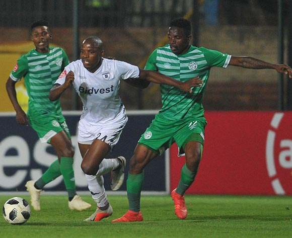 Tshepo Rikhotso of Bloemfontein Celtic challenges Gift Motupa of Bidvest Wits during the Absa Premiership match between Bidvest Wits and Bloemfontein Celtic on the 10 November 2018 at Bidvest Stadium  / Pic Sydney Mahlangu/BackpagePix