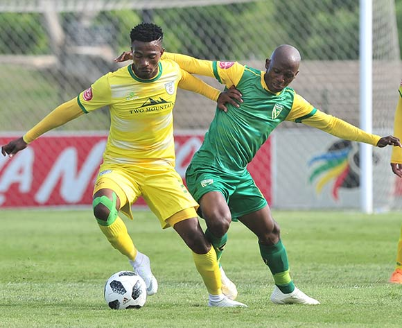 Tebogo Sodi of Baroka challenged by Nduduzo Sibiya of Golden Arrows during the Absa Premiership 2018/19 match between Golden Arrows and Baroka FC at Princess Magogo Stadium, Durban on 10 November 2018 ©Samuel Shivambu/BackpagePix
