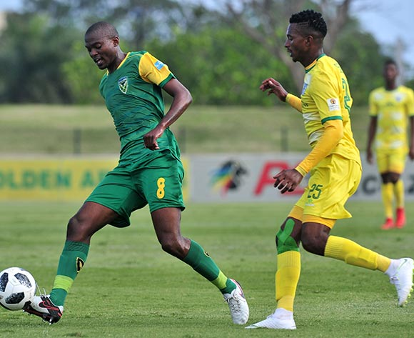 Nkanyiso Cele of Golden Arrows challenged by Tebogo Sodi of Baroka during the Absa Premiership 2018/19 match between Golden Arrows and Baroka FC at Princess Magogo Stadium, Durban on 10 November 2018 ©Samuel Shivambu/BackpagePix