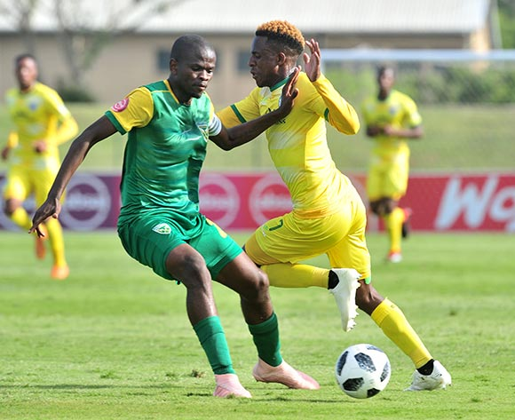 Talent Chawapiwa of Baroka challenged by Nkanyiso Mngwengwe of Golden Arrows during the Absa Premiership 2018/19 match between Golden Arrows and Baroka FC at Princess Magogo Stadium, Durban on 10 November 2018 ©Samuel Shivambu/BackpagePix