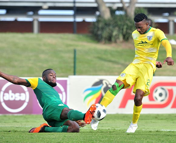 Tebogo Sodi of Baroka tackled by Siyanda Zwane of Golden Arrows during the Absa Premiership 2018/19 match between Golden Arrows and Baroka FC at Princess Magogo Stadium, Durban on 10 November 2018 ©Samuel Shivambu/BackpagePix