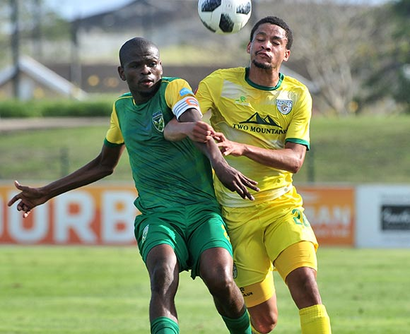 Jemondre Dickens of Baroka FC challenged by Nkanyiso Mngwengwe of Golden Arrows during the Absa Premiership 2018/19 match between Golden Arrows and Baroka FC at Princess Magogo Stadium, Durban on 10 November 2018 ©Samuel Shivambu/BackpagePix