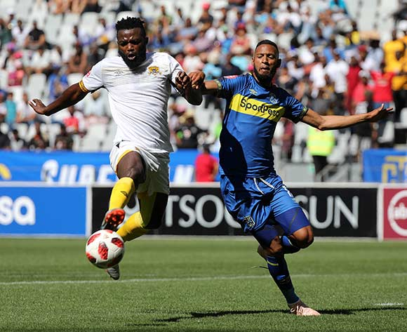 Mwape Musonda of Black Leopards and Taariq Fielies of Cape Town City FC during the Absa Premiership 2018/19 football match between Cape Town City FC and Black Leopards at Cape Town Stadium, Cape Town on 11 November 2018 ©Chris Ricco/BackpagePix