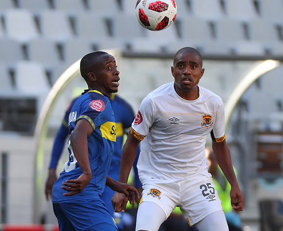 Thabo Nodada of Cape Town City battles for the ball with Thabiso Mokoena of Black Leopards during the Absa Premiership 2018/19 football match between Cape Town City FC and Black Leopards at Cape Town Stadium, Cape Town on 11 November 2018 ©Chris Ricco/BackpagePix