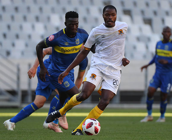 Eden Nene of Black Leopards evades challenge from Siphelele Mthembu of Cape Town City during the Absa Premiership 2018/19 football match between Cape Town City FC and Black Leopards at Cape Town Stadium, Cape Town on 11 November 2018 ©Chris Ricco/BackpagePix