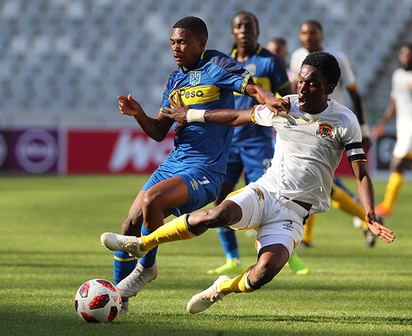 Gift Links of Cape Town City tackled by Marks Munyai of Black Leopards during the Absa Premiership 2018/19 football match between Cape Town City FC and Black Leopards at Cape Town Stadium, Cape Town on 11 November 2018 ©Chris Ricco/BackpagePix