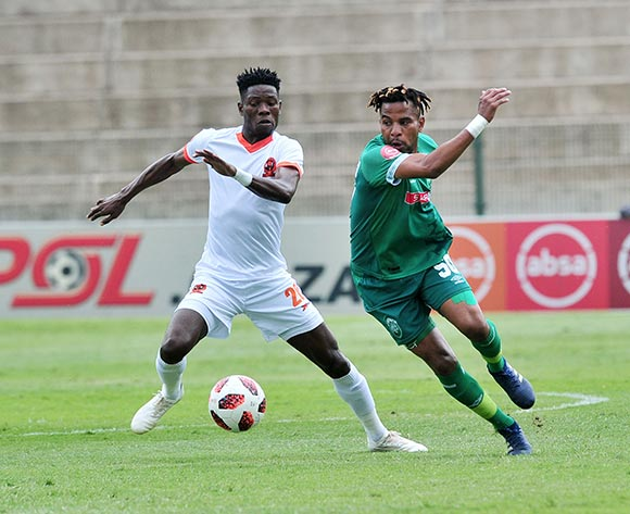 Nhlanhla Vilakazi of AmaZulu challenged by Salulani Phiri of Polokwane City during the Absa Premiership 2018/19 match between AmaZulu and Polokwane City at King Zwelithini Stadium, Durban on 11 November 2018 ©Samuel Shivambu/BackpagePix