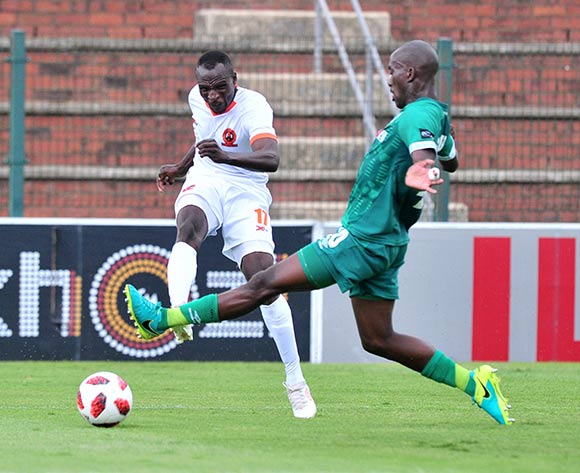 Rodney Ramagalela of Polokwane City challenged by Xolani Silawula of AmaZulu during the Absa Premiership 2018/19 match between AmaZulu and Polokwane City at King Zwelithini Stadium, Durban on 11 November 2018 ©Samuel Shivambu/BackpagePix