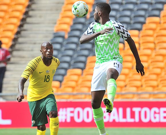 Iheanacho Kelechi Promise of Nigeria challenged by Sifiso Hlanti of South Africa during the 2019 African Cup of Nations Qualifier match between South Africa and Nigeria at FNB Stadium, Johannesburg on 17 November 2018 ©Samuel Shivambu/BackpagePix