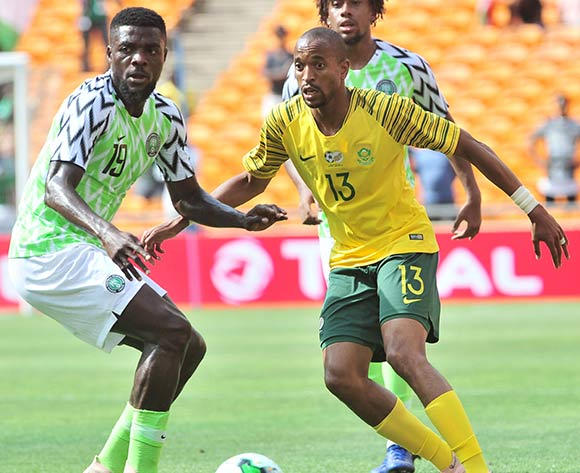Tiyani Mabunda of South Africa challenged by Ogu Ugochukwu John of Nigeria during the 2019 African Cup of Nations Qualifier match between South Africa and Nigeria at FNB Stadium, Johannesburg on 17 November 2018 ©Samuel Shivambu/BackpagePix