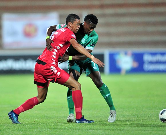 Bongi Ntuli of AmaZulu challenged by Bevan Fransman of Highlands Park during the Absa Premiership 2018/19 match between Highlands Park and AmaZulu at Makhulong Stadium, Johannesburg on 27 November 2018 ©Samuel Shivambu/BackpagePix