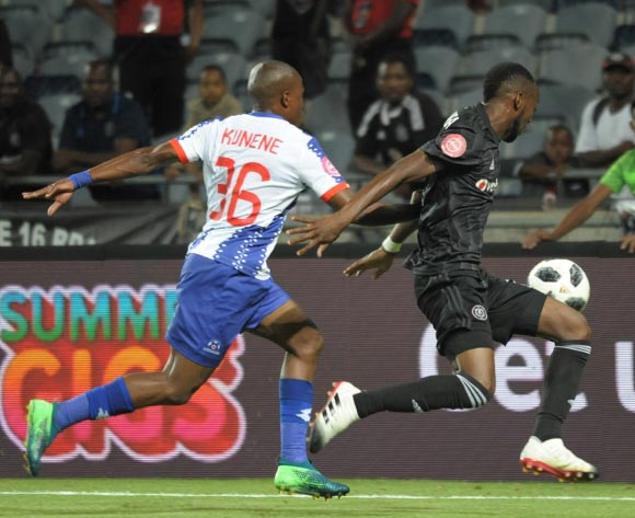 Justin Shonga of Orlando Pirates challenged by Mxolisi Kunene of Maritzburg United during the Absa Premiership 2018/19 game between Orlando Pirates and Maritzburg United at Orlando Stadium ,South Africa on 01 December 2018 ©Aubrey Kgakatsi/BackpagePix