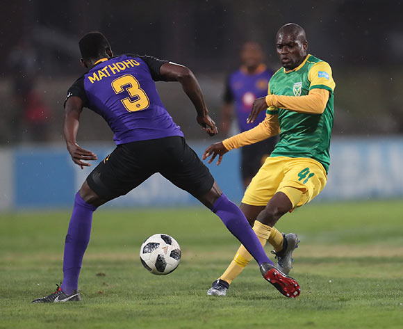 Erick Mathoho of Kaizer Chiefs and Lerato Lamola of Golden Arrows during the Absa Premiership 2018/19 game between Golden Arrows and Kaizer Chiefs at Princess Magogo Stadium on 1 December 2018 © Howard Cleland/BackpagePix