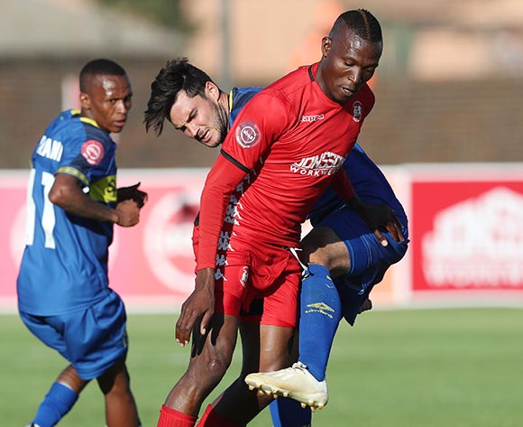 Tendai Ndoro of Highlands Park tackled by Roland Putsche of CT City during the Absa Premiership 2018/19 football match between Highlands Park and Cape Town City at Makhulong Stadium, Tembisa on 01 December 2018 ©Gavin Barker/BackpagePix
