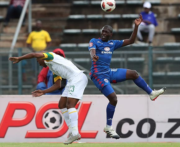 Aubrey Modiba of Supersport wins header against Lyle Lakay of Sundowns  during the Absa Premiership 2018/19 football match between Supersport United and Sundowns at Lucas Moripe Stadium, Pretoria on 02 December 2018 ©Gavin Barker/BackpagePix