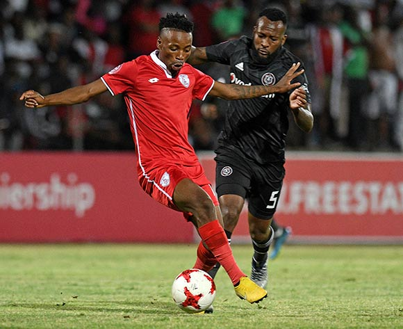 Sinethemba Jantje from FS Stars and Mpho Makola from Orlando Pirates during the Absa Premiership 2018/19 game between Free State Stars and Orlando Pirates at Goble Park, Bethlehem on 11 December 2018 © Gerhard Steenkamp/BackpagePix