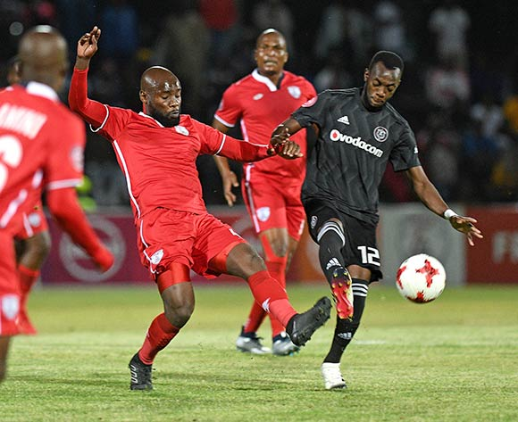 Justin Shonga from Orlando Pirates and Makhehleni Makhaula from FS Stars during the Absa Premiership 2018/19 game between Free State Stars and Orlando Pirates at Goble Park, Bethlehem on 11 December 2018 © Gerhard Steenkamp/BackpagePix