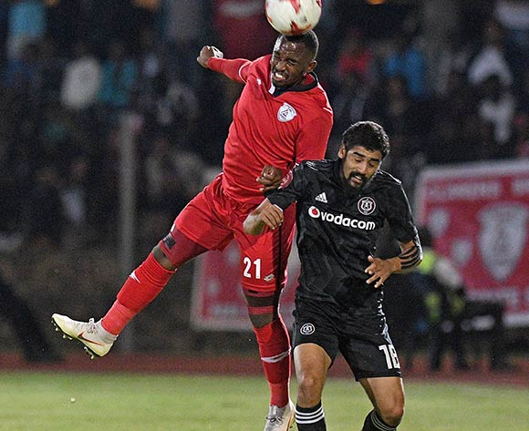 Abbubaker Mobara from Orlando Pirates and Patrick Phungwayo from FS Stars during the Absa Premiership 2018/19 game between Free State Stars and Orlando Pirates at Goble Park, Bethlehem on 11 December 2018 © Gerhard Steenkamp/BackpagePix