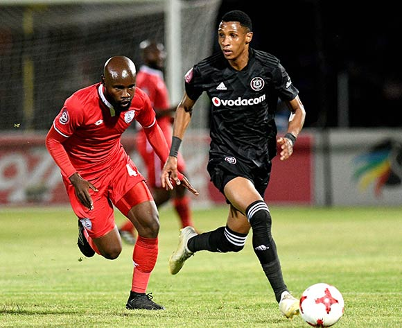 Vincent Pule from Orlando Pirates and Makhehleni Makhaula from FS Stars during the Absa Premiership 2018/19 game between Free State Stars and Orlando Pirates at Goble Park, Bethlehem on 11 December 2018 © Gerhard Steenkamp/BackpagePix